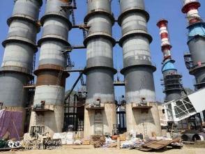 广西汇宾钙业石灰窑现场耐火砖,浇注料与施工现场